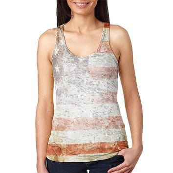 4th of July American Flag Star Spangled Banner Juniors Burnout Racerback Tank Top