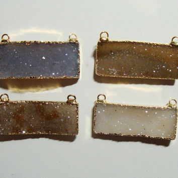 Natural Rectangular Druzy Drusy Gold Edge Pendant, Double Bail, Handmade Druzy Drusy Pendant Findings -35x14mm- 15% sale-J5-3