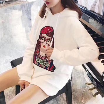 DCCKXT7 Gucci' Casual Fashion Cartoon Glasses Girl Pattern Embroidery Long Sleeve Hooded Sweater Tops Women Hoodie