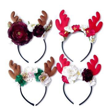 Christmas Floral headband Reindeer Antlers Headband Children Adult Headbands Hair Accessories Christmas Hairband