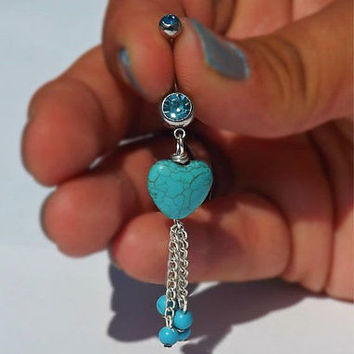 Turquoise Stone Heart belly Button Navel Ring With Turquoise Beads 14ga