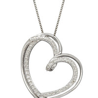 Lord & Taylor Red Box Gallery Sterling Silver Diamond Heart Pendant Necklace