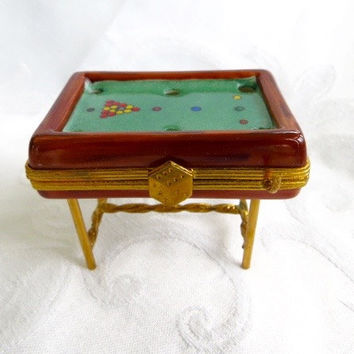 Authentic Limoges Box Snooker Pool Table Billiard Box Limoges FRANCE Collectible Boxes Vintage