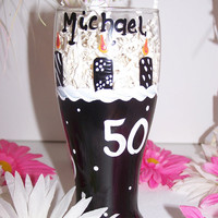 Hand Painted 50th Birthday Beer Stein Painted Over the Hill 50th Birthday Beer Glass Perfect Birthday Gift