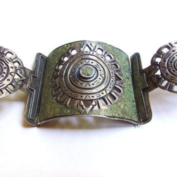 Wide Green Stone Inlay Sterling Silver Bracelet, Unakite Guad Mex, vintage 96.5 grams