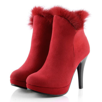 2017 Winter Fur Boots Womens Plush Warm Platform Ankle Boots Sexy Ladies Red Shoes Female Botas Femininas High Heels Booties