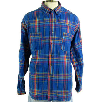 Vintage Plaid Shirt - Button Down Blue Orange Pink Oxford - Men's Size Extra Large XL