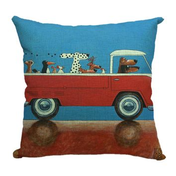 Multi Cartoon Linen Pillow Covers
