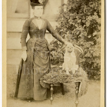 Cabinet Card Victorian Woman with Small Dog Sitting on Chair Nottingham