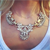 Crystal Bib Statement Necklace with antique gold (inspired by J Crew)