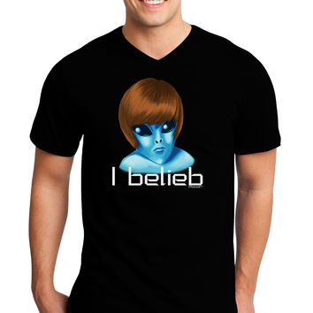 Extraterrestial - I Belieb Adult Dark V-Neck T-Shirt by TooLoud