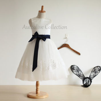 Ivory Tulle Lace Flower Girl Dress Infant Toddler PAGEANT Bridal Party Dress with Navy Blue Sash