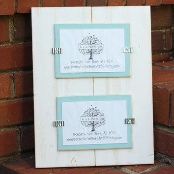Distressed Wood Picture Frame - Double 4x6 - White with Sky Blue