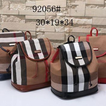 LOMFN Burberry Women Casual Multicolor Stripe Backpack Double Shoulder Bag
