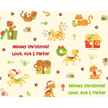 Holiday Cats Wrapping Paper 6ft