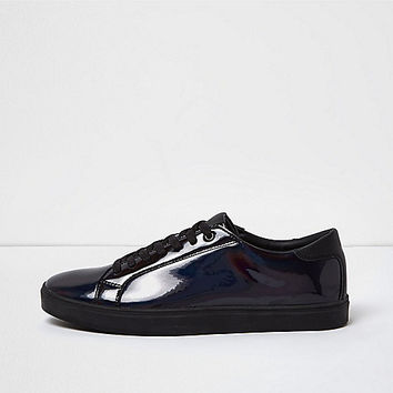 Black iridescent trainers