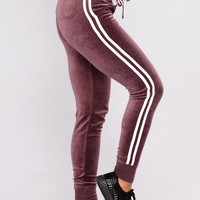 Easy Fit Velour Jogger - Vintage Violet