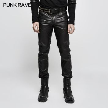 2017 Punk Rave Rock Fashion Rock Black Gothic  style  Faux Leather Pants Trousers K301
