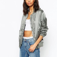 ASOS Luxe Bomber Jacket In Satin at asos.com