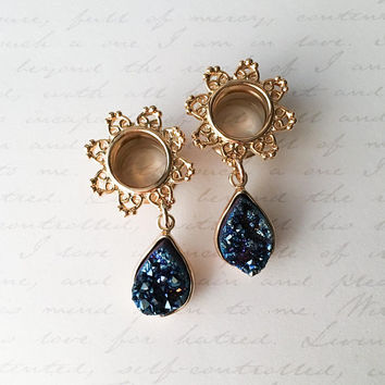 Genuine Teardrop Blue Druzy and 14Kt Gold Plated Dangle Tunnels Plugs, gauges  0g (8mm), 00g (10mm), 1/2 (12mm), 9/16 (14mm), 5/8 (16mm)