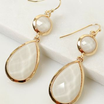 Angelic Stone Earrings White