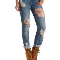"Refuge ""Boyfriend""  Medium Wash Jeans - Med Destroy Denim"
