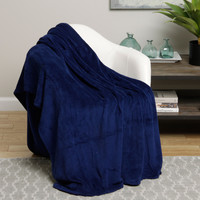 Ultra Soft Navy Design Queen Size Microplush Blanket