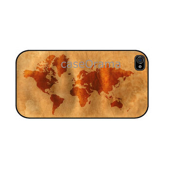 Vintage World Map iPhone 4 iPhone 4 case iPhone 4S by caseOrama