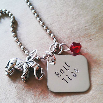 """Hand Stamped """" Roll Tide with Charm"""" Necklace"""