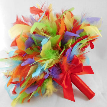 4 Feather Bouquets,Bridal Bouquet, Bridesmaids Bouquet, Wedding Bouquet,Fun Bouquet, Colorful Wedding, Rainbow Bouquet
