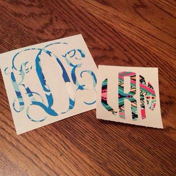 Lilly Inspired Monogram, Circle Monogram, Vine Monogram, Yeti decal, Macbook Decal, Car Decal, Phone Decal, Initials Decal