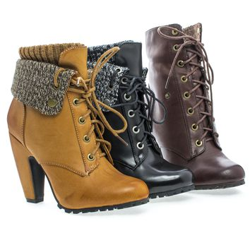 Mozza19L Knitted Folded Cuff Lace Up Block Heel Lug Sole Ankle Bootie