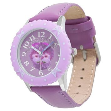 Gabriel Purple Flower Face Wristwatch