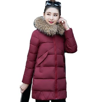 2017 Long warm thicken fur collar female coat parka cotton padded casaco feminina inverno women winter jacket high quality