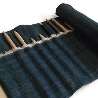 Pencil Roll,  Fabric Paintbrush case, Denim Patchwork Pencil wrap