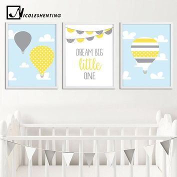 Balloon Cartoon Wall Art Canvas Painting Dream Big Nursery Posters and Prints Nordic Kids Decoration Pictures Baby Bedroom Decor