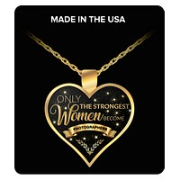 Photographer Charm Necklace - Photographer Gifts Jewelry - Only the Strongest Women Become Photographers Gold Plated Pendant Necklace