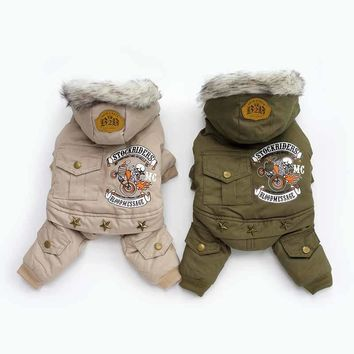 Pet Dog Costume Winter Warm Dog Parkas Clothes for Small Dogs Down Coat Chihuahua Yorkies Apparel Khaki Green Free