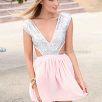 WILDFIRE DRESS , DRESSES, TOPS, BOTTOMS, JACKETS & JUMPERS, ACCESSORIES, 50% OFF SALE, PRE ORDER, NEW ARRIVALS, PLAYSUIT, COLOUR, GIFT VOUCHER,,Pink,CUT OUT,Sequin,Grey,SLEEVELESS,MINI Australia, Queensland, Brisbane