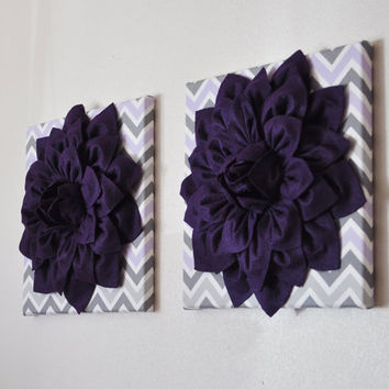 "Wall Art - Set of TWO Premier Prints Fabric Wall Hangings - Purple Dahlia on Lilac Gray White Chevron 12 x12"" Canvas Wall Art - Baby Nursery"