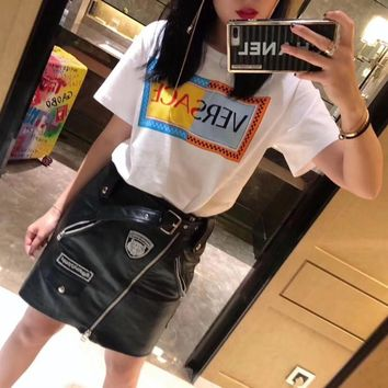 """""""Versace"""" Women Casual  Personality Multicolor Letter Pattern Short Sleeve T-shirt Top Tee"""