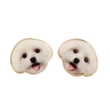 Excited Doggo Stud Earrings in White