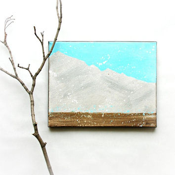 Small Abstract Art painting in Silver&Blue Winter art decor on 8x10 canvas