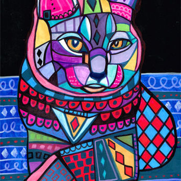 Cat Art, ORIGINAL PAINTING Chartreux Cat Art
