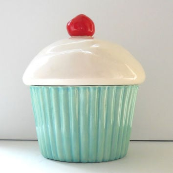 Ceramic Cupcake Cookie Jar Aqua Mint Biscuit Jar Cake Lover Gift
