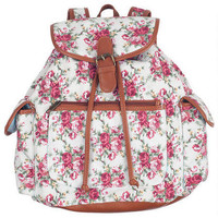 Cream Floral Backpack