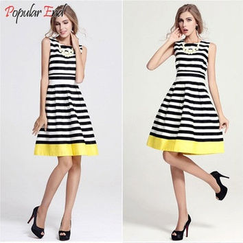 Fashion Summer Women's Stripe Splicing Dresses Sleeveless Striped Dress Vest Skirt [9221278212]
