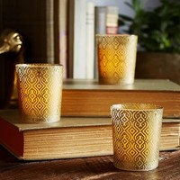 FLAMELESS GOLD FILLED VOTIVE, SET OF 2