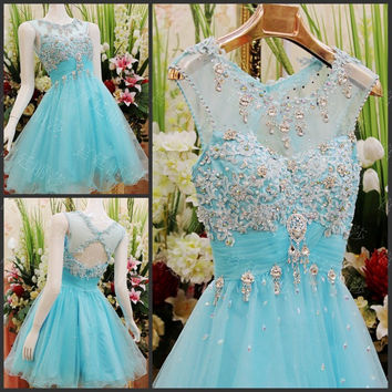 Elegant Real Photo Crystal Applique Aqua Prom Dress Empire Tulle Short Prom Dresses 2017 vestido de festa Homecoming Dress Sexy