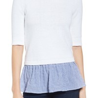 MICHAEL Michael Kors Contrast Hem Cotton Blend Sweater | Nordstrom
